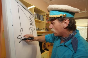 Ribič Pepe je seveda veselo risal karikature